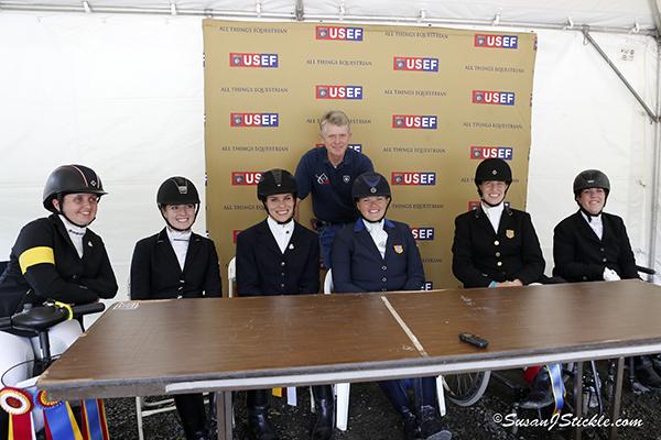 Top U.S. Para-Equestrian Dressage athletes (Left to Right) Sydney Collier, Angela Peavy, Ashleigh Flores-Simmons, Susan Treabess, Rebecca Hart, Roxanne Trunnell with U.S. Technical Advisor/ Chef d'Equipe Kai Handt. Photo copyright SusanJStickle.com. Photo is taken in Gladstone, NJ at  the 2014 USEF Para-Equestrian Dressage National Championship/ Selection Trial for the Alltech FEI World Equestrian Games™ (WEG).
