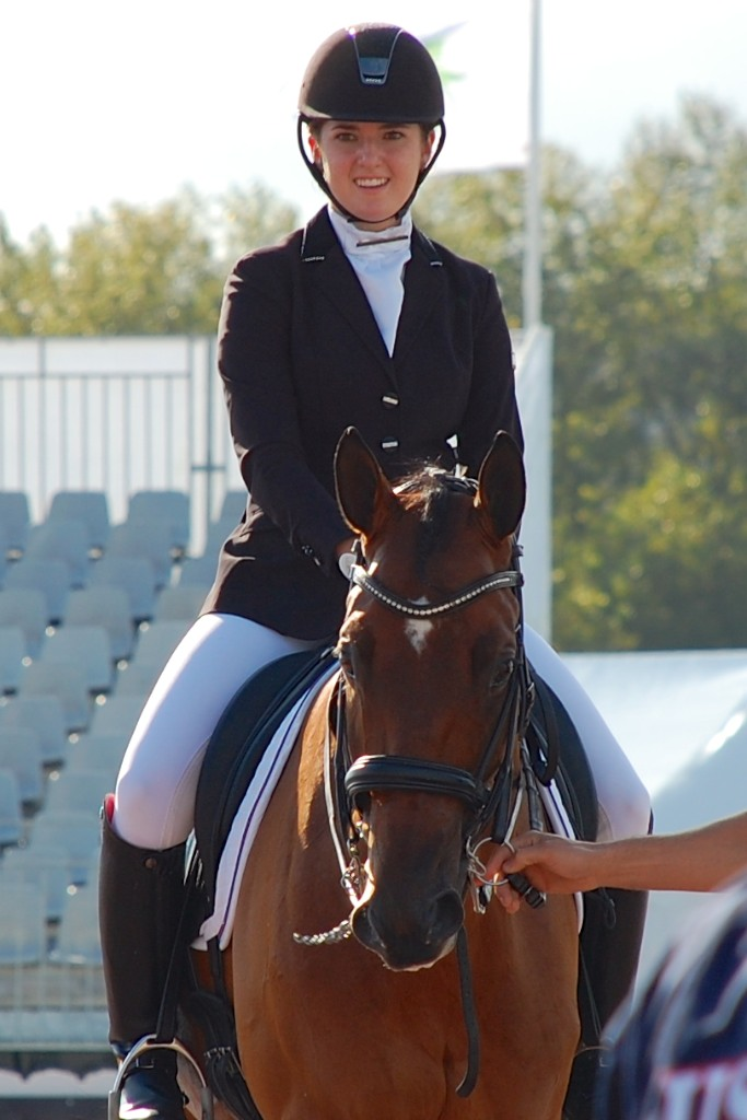 Angela Peavy beams aboard Ozzy Cooper after her Grade III Individual test.  Credit: Jennifer Bryant