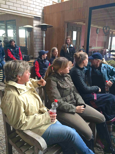 Team USA and support staff in Aachen having a team meeting during training camp. Photo courtesy of Sydney Collier