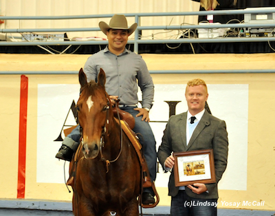 Brad Ettleman at the 2013 AQHA World Reining Championships.  Brad stands with Para-Dressage rider Freddie Win after the Para-Reining Demonstration. Photo by Lindsay Yosay McCall