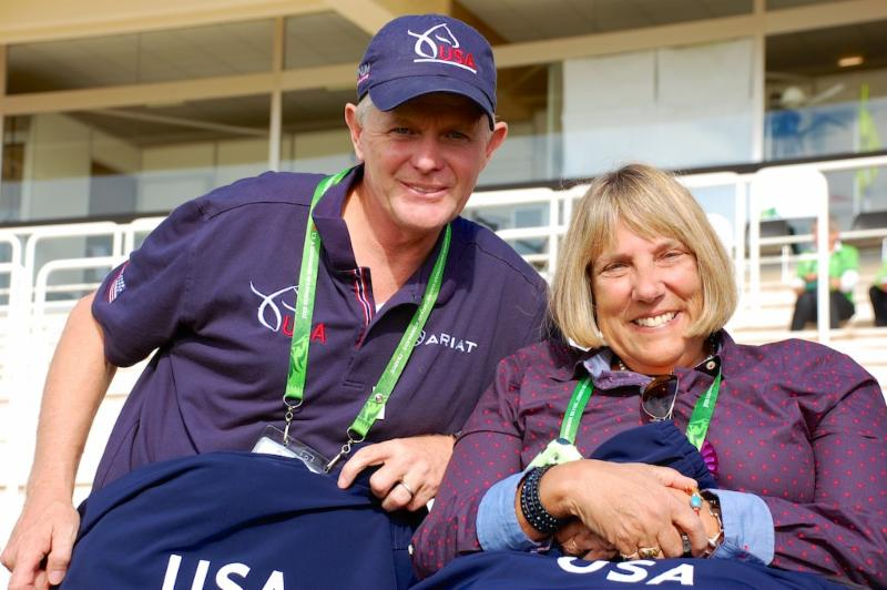 CAPTION: USEF national para-equestrian dressage national coach and coordinator Kai Handt (left) with U.S. Para-Equestrian Association president Hope Hand at the 2014 Alltech FEI World Equestrian Games CREDIT: Jennifer Bryant