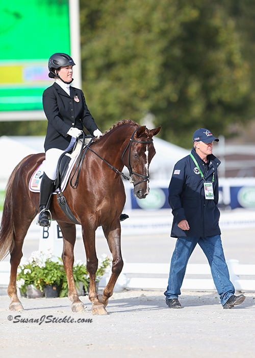 Roxanne Trunnell and her own Nice Touch with U.S. Para-Equestrian DressageChef d'Equipe Kai Handtat the 2014 Alltech FEI World Equestrian Games.