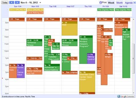 Retirement Connection Event Calendar