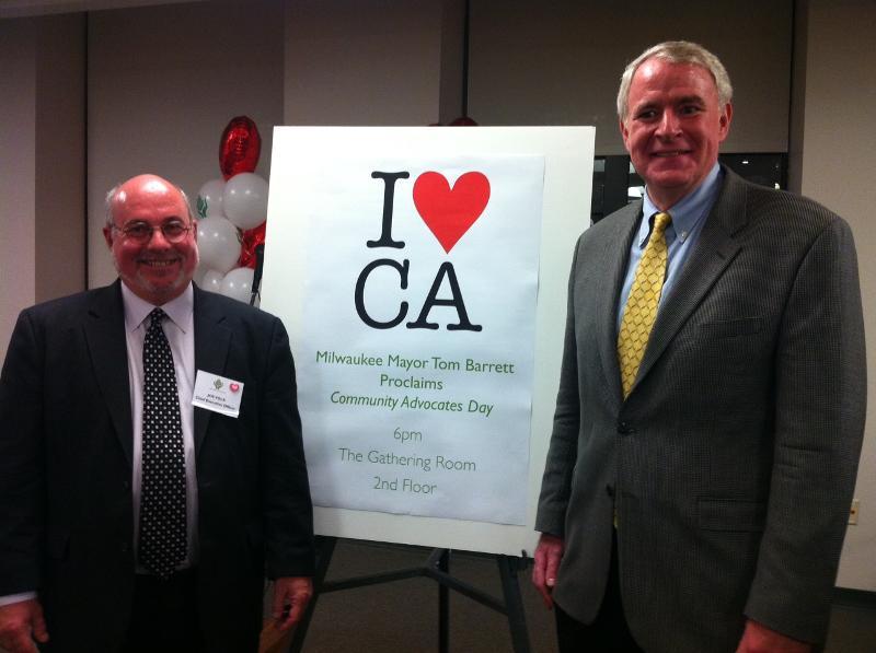 Joe Volk, Chief Executive Officer, with Milwaukee Mayor Tom Barrett