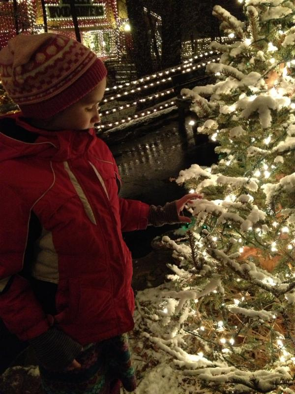 boy by the Christmas tree