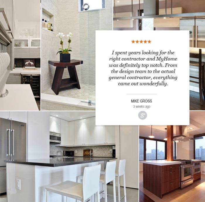 5 stars quote - I spent years looking for the right contractor and MyHome was definitely top notch. From the Design team to the actual general contractor, everything came out wonderfully.