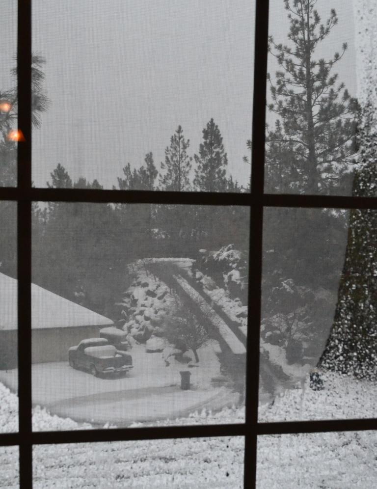 snow storm through window