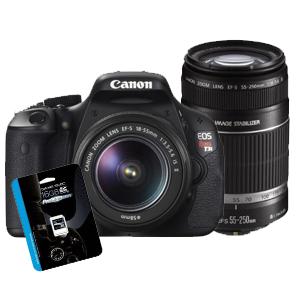 canon t3i w/18-55mm + 55-250mm lenses