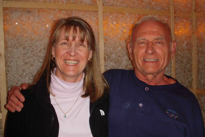 Norm Shealy and Anne Salisbury in Norm's healing crystals room.