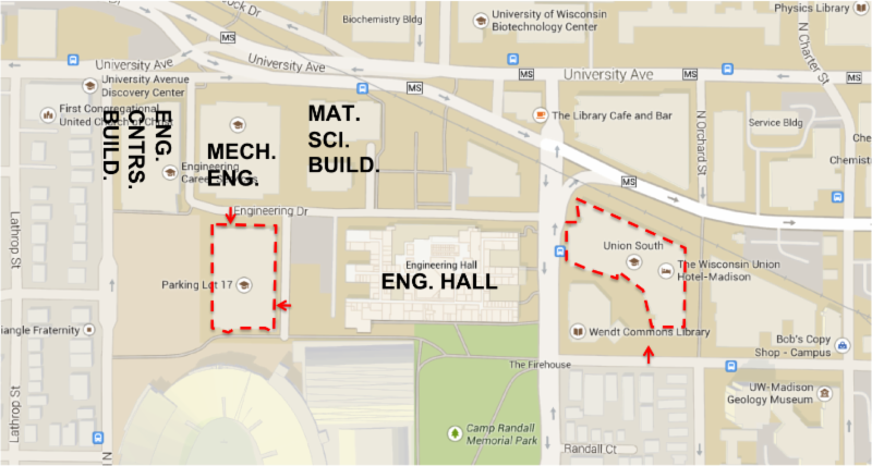 Map of the parking structures near the event