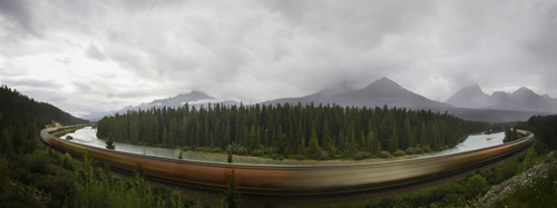 Train on Morant's Curve on the Bow River
