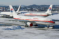 Airliners on Snowy Ramp
