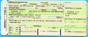 Yellow Airline Ticket