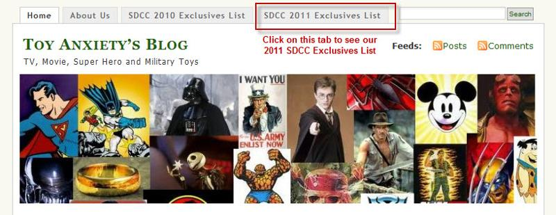 Click Here for our Final SDCC 2011 Exclusives List