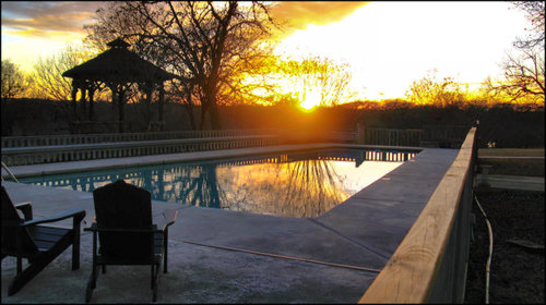 Haven pool at sunset