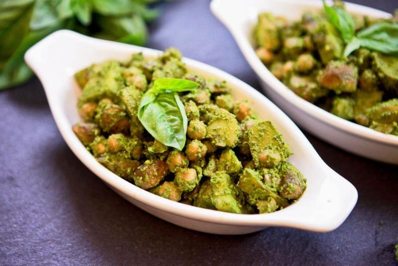 Pesto Potato Chickpea Salad by Keepinitkind.com