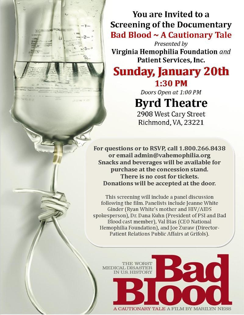 VHF and PSI Bad Blood Documentary Screening