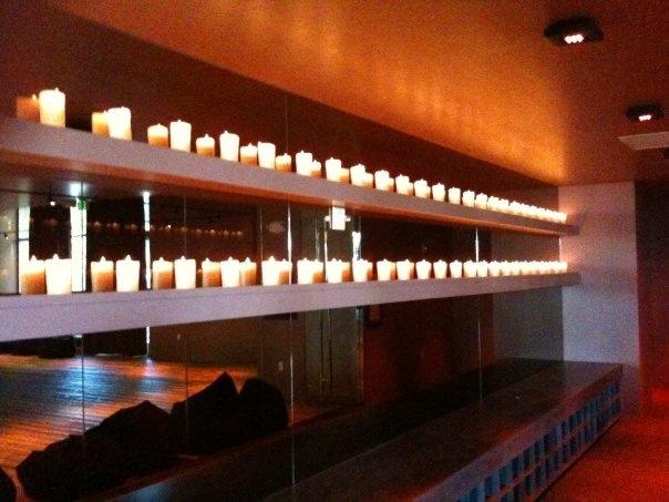David Barton's Gym wall of Candles