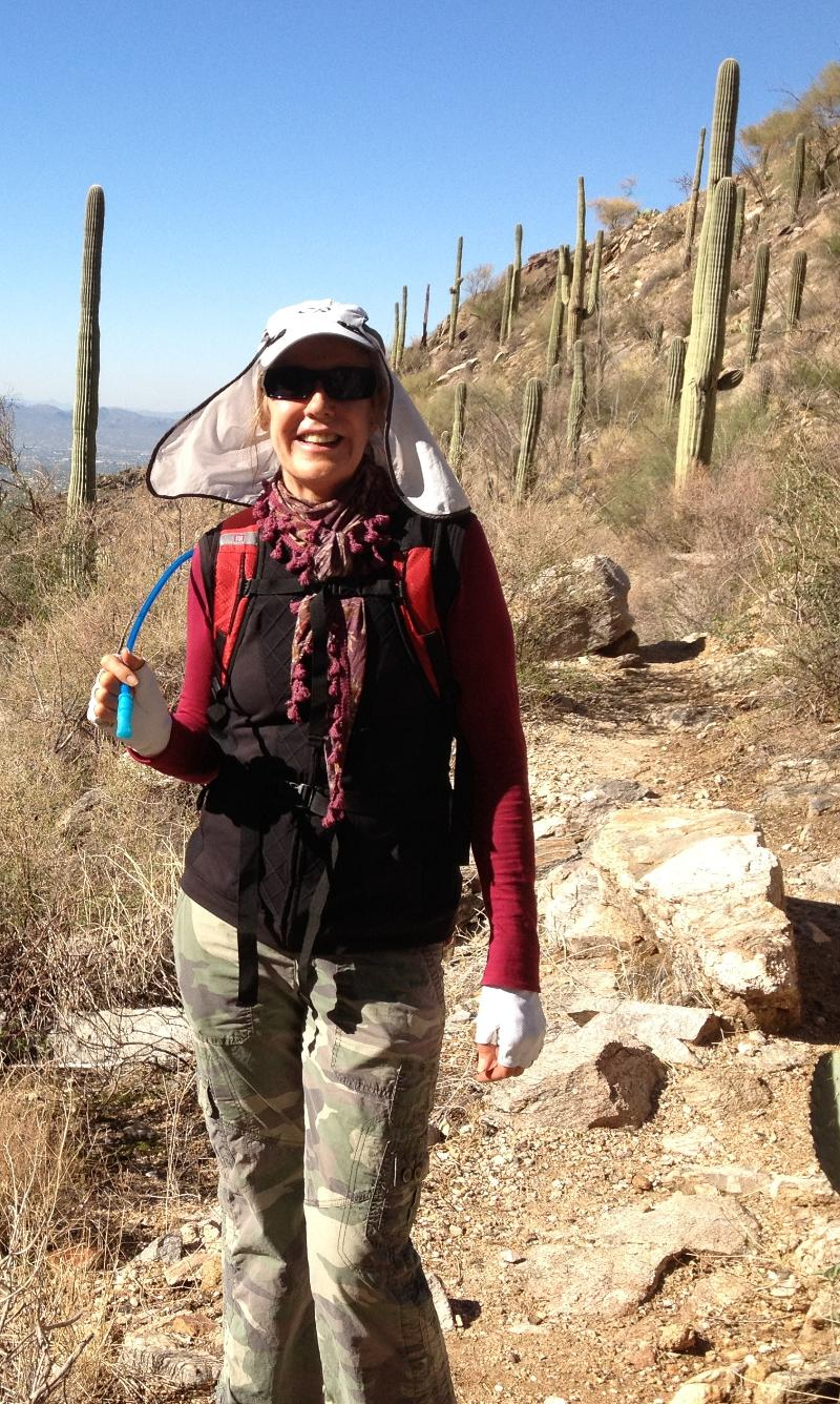 Friend Maria hiking on Thanksgiving!