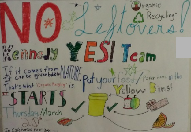 A sign made by YES! students for their school cafeteria detailing organics recycling and other ways to reduce food waste
