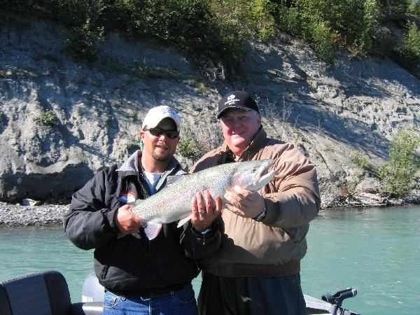 GuideTodd and guest Steve Smith with rainbow trout