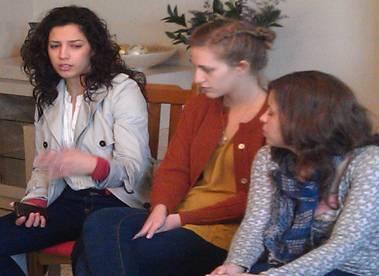 Fairuz, Maya, and Baraa lead a young leader meeting
