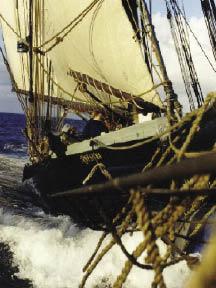 Schooner Ernestina sailing