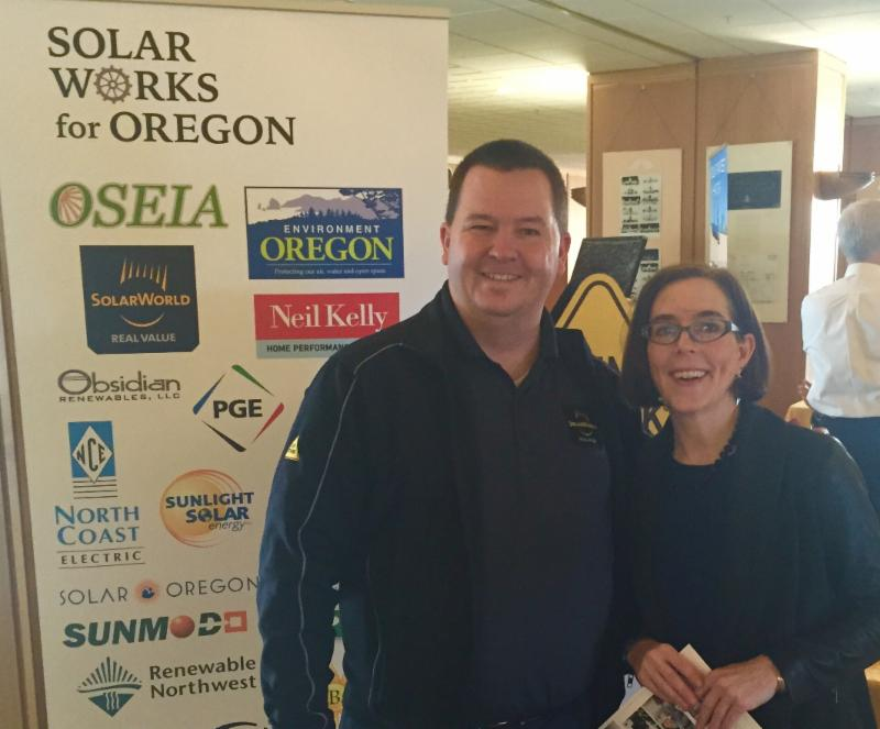 SolarWorlds Kevin Keene with Secretary of State Kate Brown.