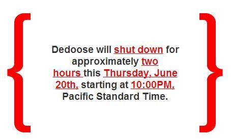 Dedoose Shutdown 6-18-13