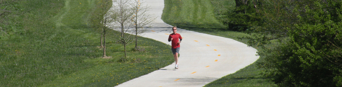 jogger on park trail