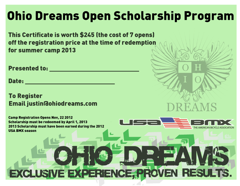 Ohio Dreams Open Scholarship Certificate