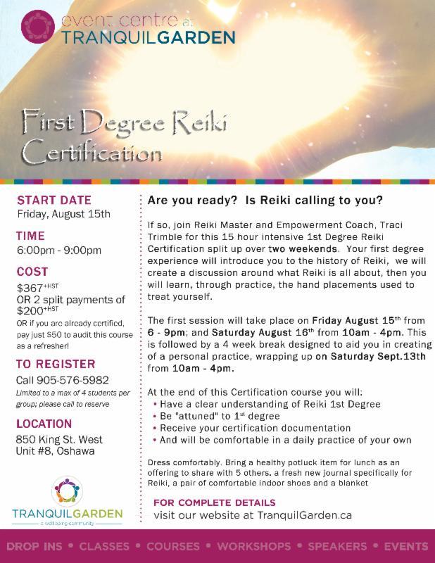 Reiki 1st Degree Certification