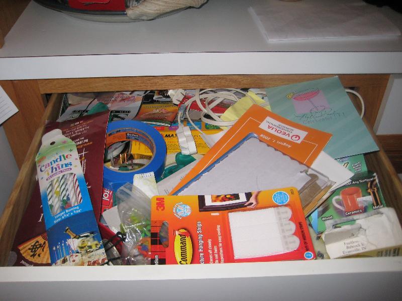 messy junk drawer