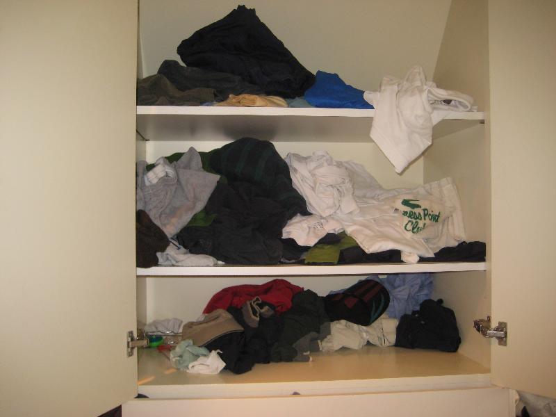 messy clothes cabinet