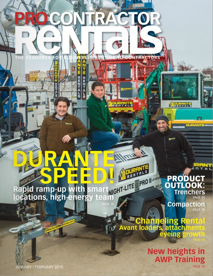 Durante Rentals featured in Pro Contractor Rentals magazine