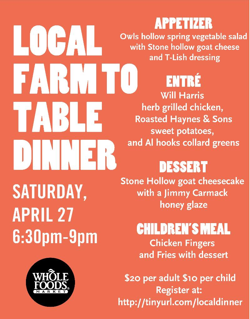 Local farm to table dinner for Table 6 brunch menu