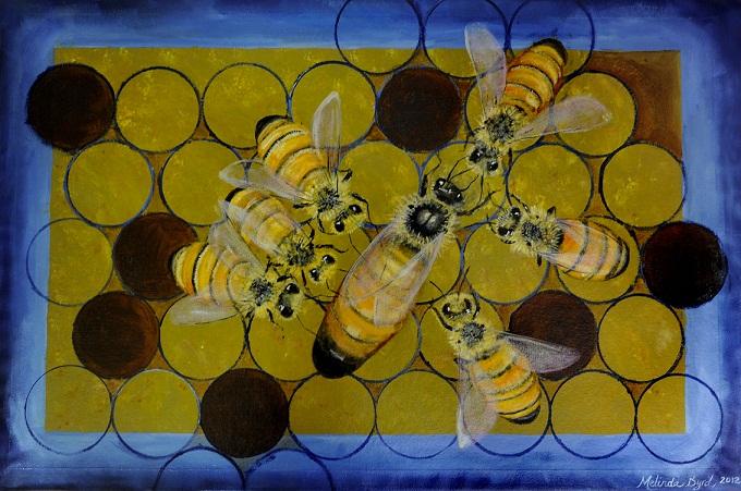 Honeybee Floorcloth 2' x 4'
