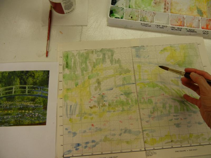 painting the general feel of the Monet painting onto the special graph paper