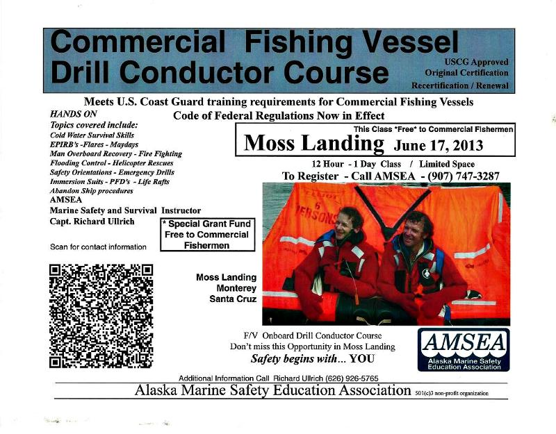 Commercial Fishing Vessel Drill Conductor Course