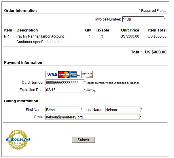 Pay Online CC Information