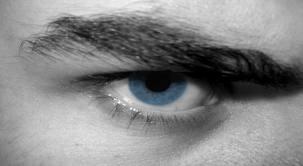 angry blue eye