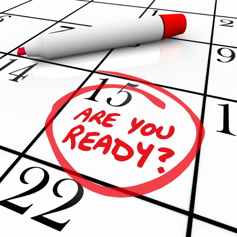 A calendar with the date 15 circled asking Are You Ready to illustrate being prepared or a state of readiness for an important event, appointment or deadline such as tax day