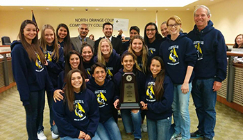 Women's Water Polo Team Recognized at Board of Trustees Meeting