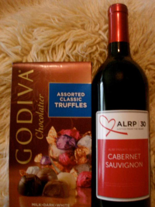 Alrp wine candy easter baskets available aids legal referral 1 bottle of alrp wine ghirardelli spring chocolates two boxed 21 oz stemless alrp wine glasses in white gift box with red ribbon negle Images