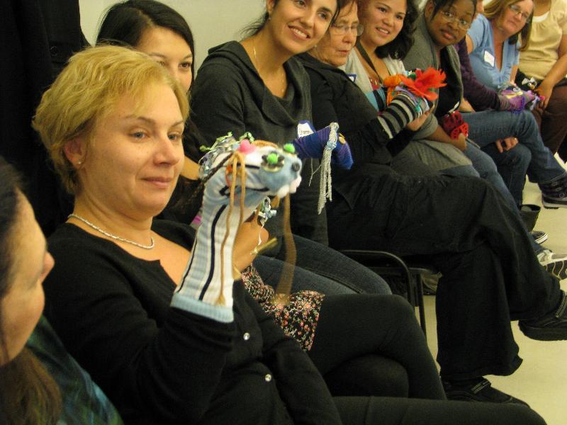 ELTA puppets participant leading