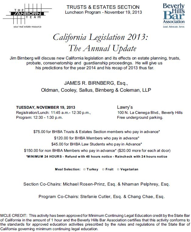 11/19 - California Legislation 2013: The Annual Update