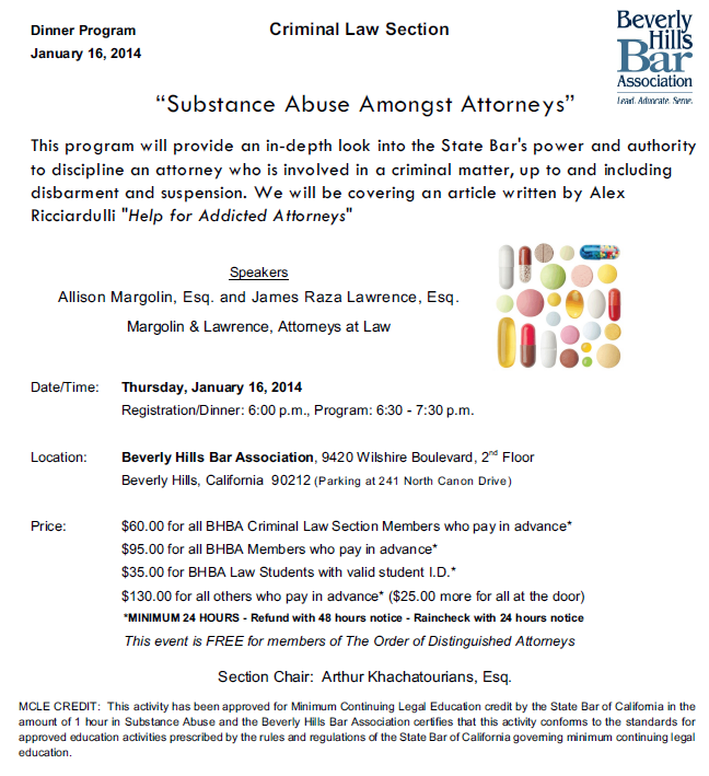 1/16 - Substance Abuse Amongst Attorneys
