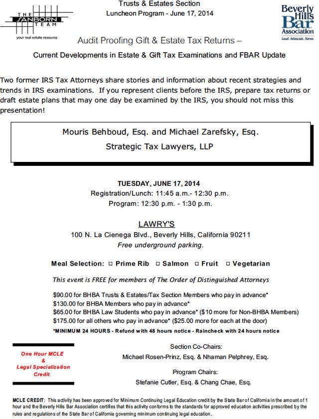 6/17 - Audit Proofing Gift & Estate Tax Returns