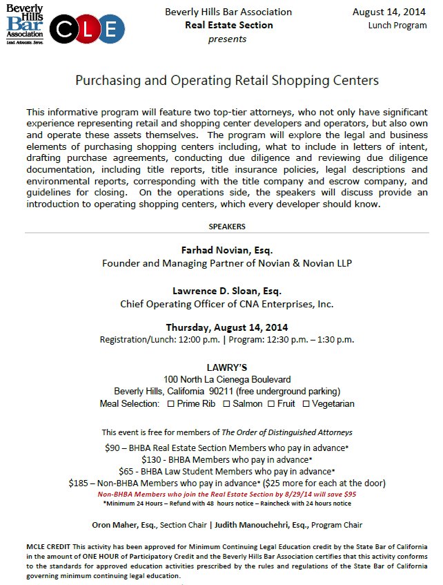 Purchasing and Operating Retail Shopping Centers