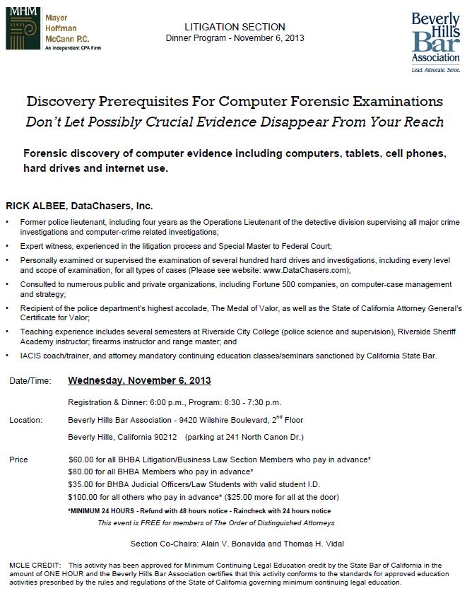 11/6 - Discovery Prerequisites For Computer Forensic Examinations